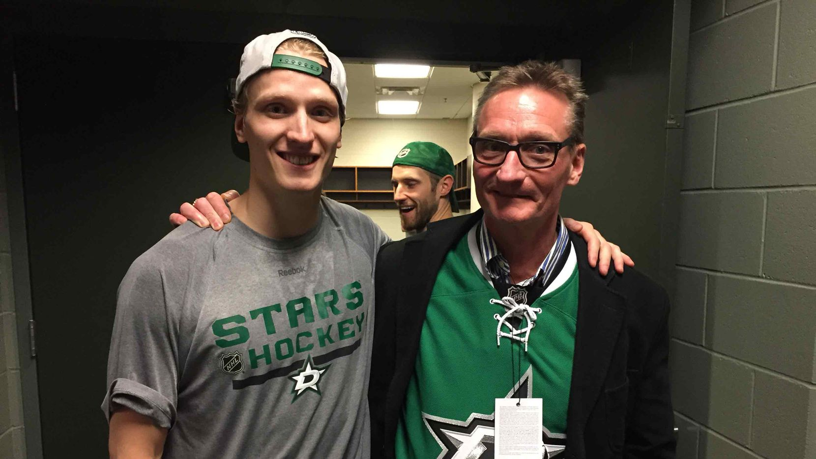 John Klingberg and dad Anders during the fathers' annual road trip with the Stars that ended in Chicago on Feb. 11, 2016