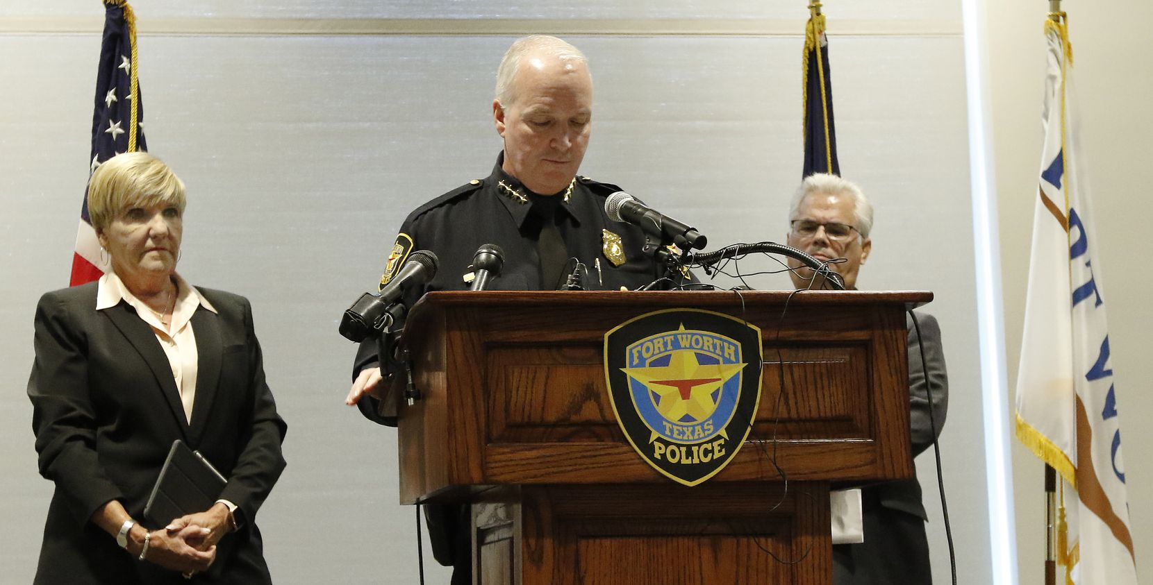 Ft Worth Mayor Betsy Price, left, as to Interim Police Chief Ed Kraus, talks during the Fort Worth Police Department's press conference about the officer involved shooting of Atatiana Jefferson at the Bob Bolen Public Safety Complex on Monday, October 14, 2019 in Fort Worth, Texas.