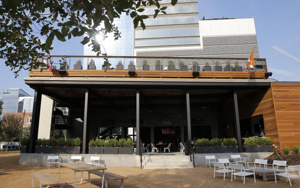 A view from the courtyard area at the Happiest Hour in Dallas on Thursday, October 8, 2015.