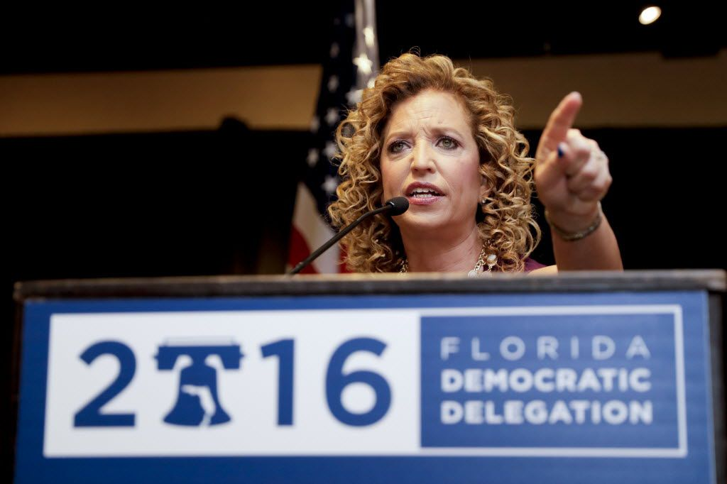 Departing DNC Chairwoman Debbie Wasserman Schultz spoke at a Florida delegation breakfast on Monday in Philadelphia. (Matt Slocum/The Associated Press)