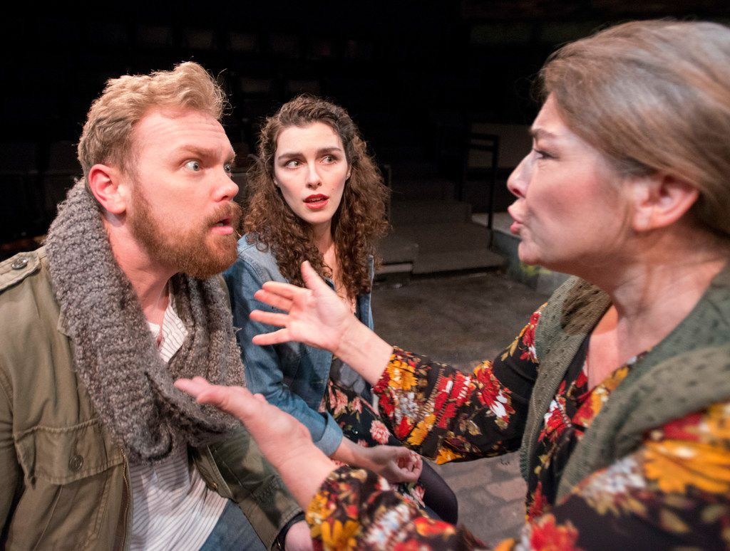 Ian Ferguson (left), Cora Grace Winstead and Kelly Winstead Miyake in a scene from Once  at Theatre Three.