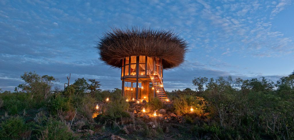 Segera Retreat's Nay Palad, best described as resembling a twig-filled bird nest, is built close to a river so its guests have up-close views of wildlife slaking their thirst.