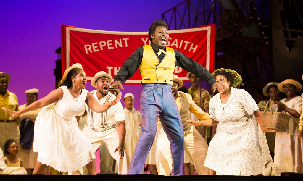 Jermaine Smith, who plays Sportin' Life, and the chorus perform during a dress rehearsal.