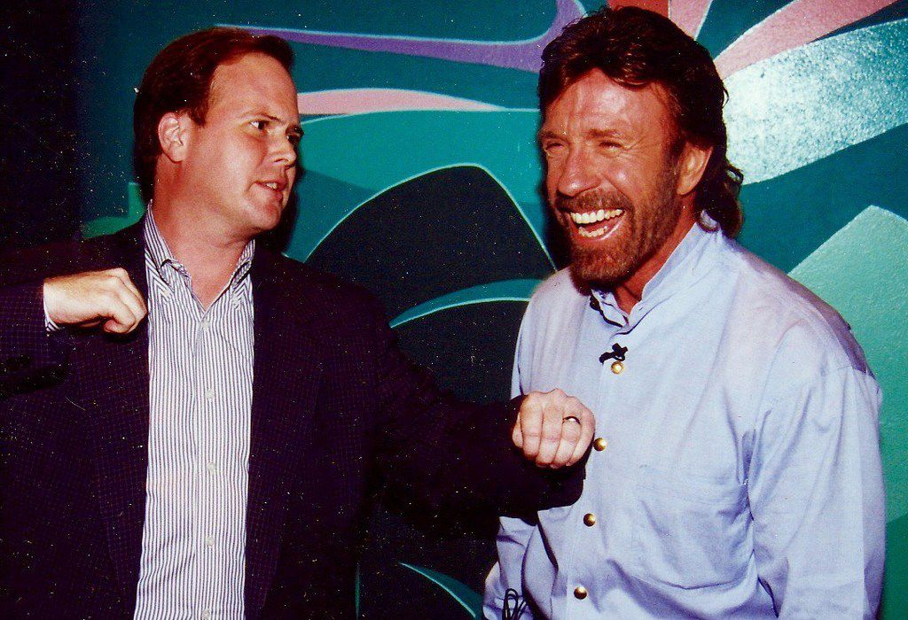 Dallas Morning News staff writer Alan Peppard takes a swing at actor and martial arts star Chuck Norris in 1997.