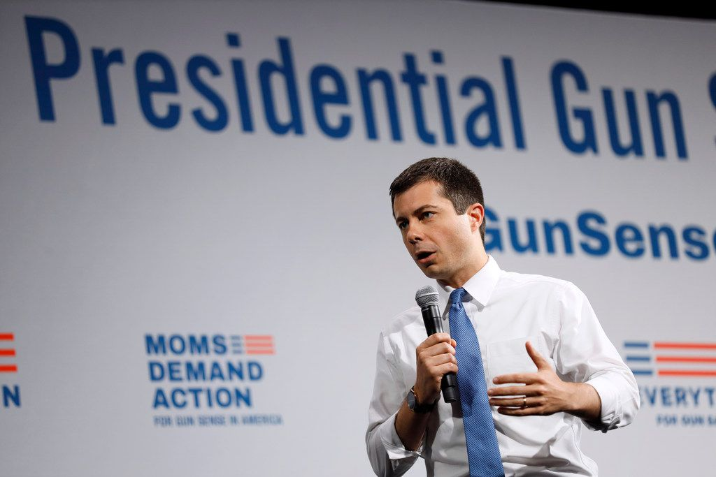 Democratic presidential candidate South Bend, Ind., Mayor Pete Buttigieg speaks at the Presidential Gun Sense Forum, Saturday, Aug. 10, 2019, in Des Moines, Iowa. (AP Photo/Charlie Neibergall)