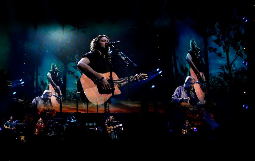 Larger than life images tower over the stage projected on large screens as members of the iconic band the Eagles perform during their set. Chris Stapleton and the Eagles performed before a  capacity crowd of their fans at AT&T Stadium in Arlington on June 23, 2018. (Steve Hamm/ Special Contributor)