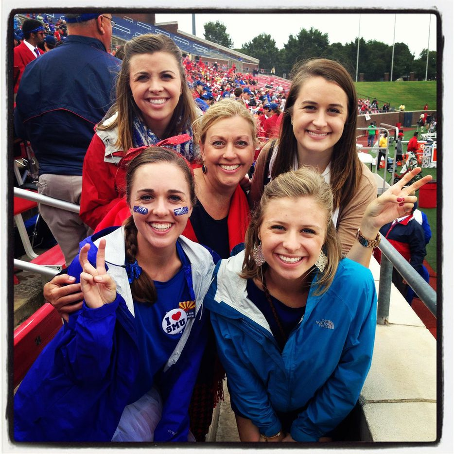Shari Rood was flanked by daughters Keelie Luttrell (back left), Kari Rood (back right), Kaci Rood (front left) and Kenna Sperco at an SMU football game in 2013. All four girls graduated from SMU, giving their mom the green light for becoming a flight attendant for Southwest Airlines after 35 years in its customer service department In Phoenix.
