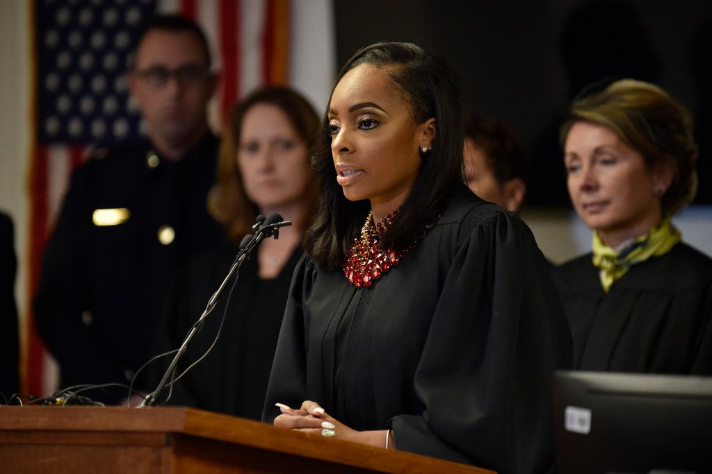 "Dallas County Criminal Court Judge Shequitta Kelly conducts a press conference about the ""Bring 'EM Back"" gun program as a group of Judges stand behind her in support at the Central Jury Room inside the Frank Crowley Courts Building in Dallas, Tuesday Jan. 29, 2019. The program provides a safe place for offenders to return their handguns upon court order. Ben Torres/Special Contributor"
