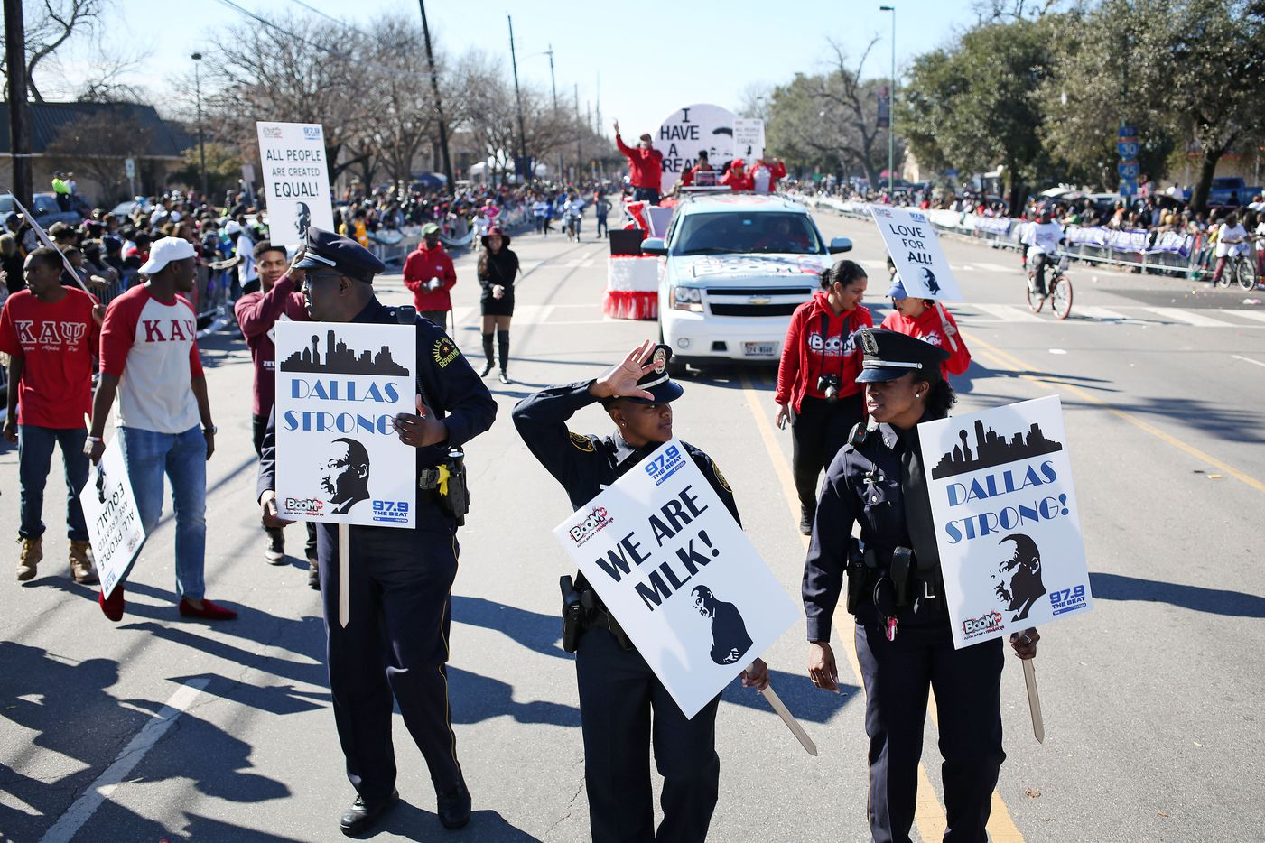 Dallas ISD police officers participate in the parade.
