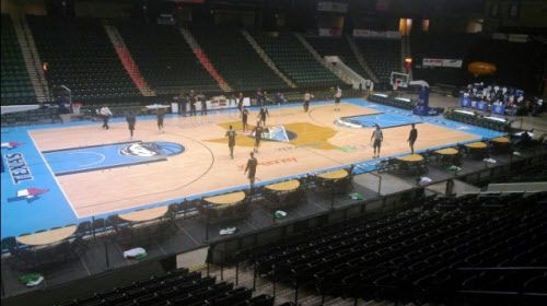 This basketball court was built for the 2010 NBA All-Star Game at Cowboys Stadium in Arlington. The city of Frisco recently purchased the court from Texas Legends owner Donnie Nelson as part of an incentive package to keep the team based in Frisco. 04052014xMETRO 04052014xBRIEFING