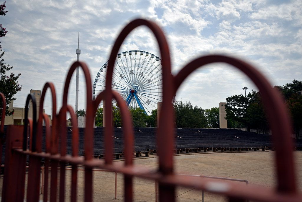 The State Fair of Texas ferris wheel seen from the Band Shell inside Fair Park in Dallas, on Thursday morning, July 26, 2018