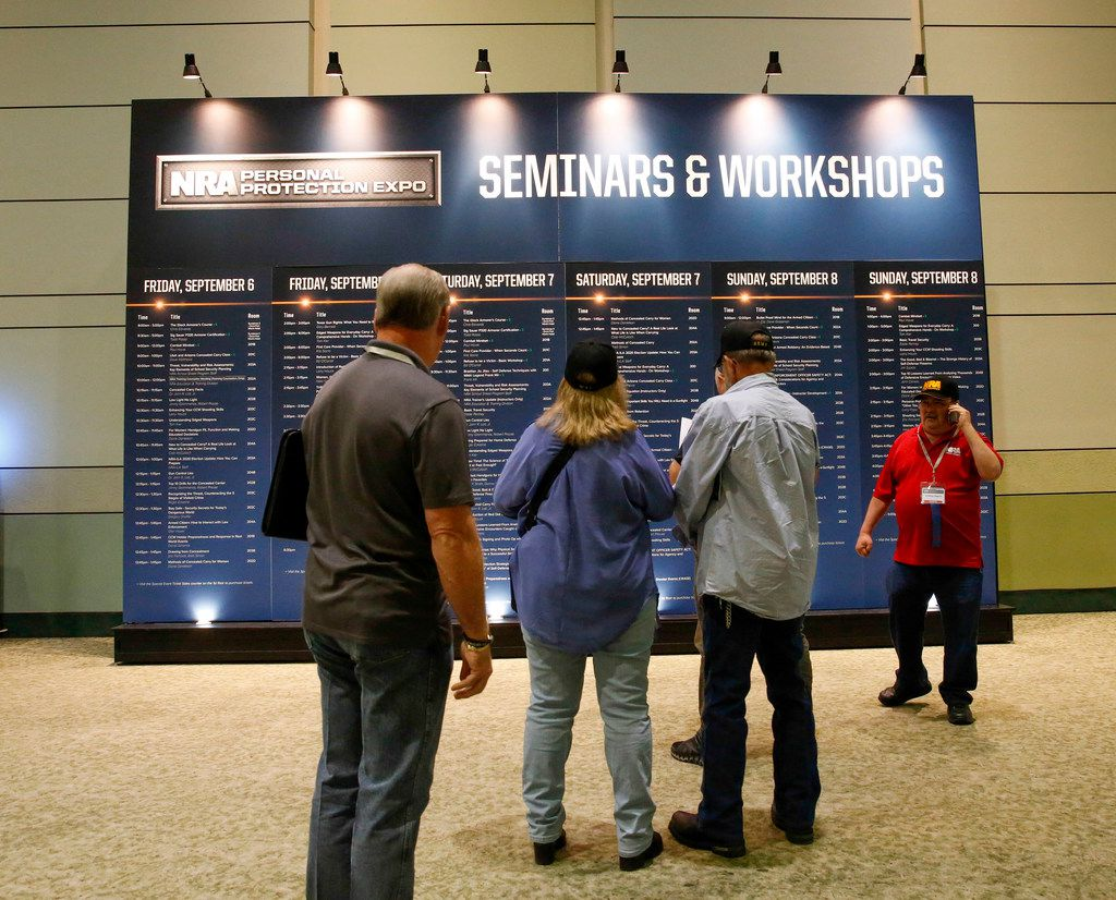 A schedule displays more than 120 seminars and workshops at the NRA expo in Fort Worth.