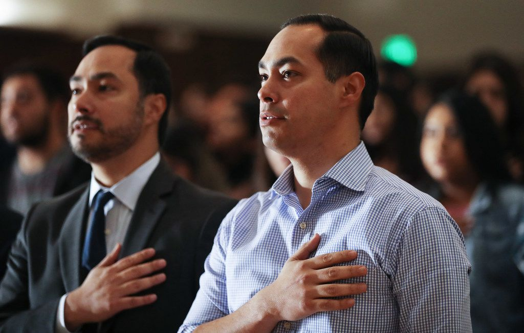 Former San Antonio mayor Julian Castro, right, is the first bona fide Texas Democrat to run for president in decades. But his twin brother, Rep. Joaquin Castro of San Antonio, is one of only two Texas Democrats in Congress to so far endorsement the White House contender. (Photo by Mario Tama/Getty Images)