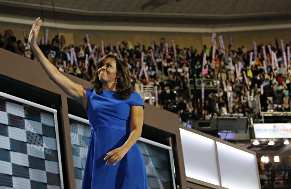 First Lady Michelle Obama waved as she left the stage during the Democratic National Convention on Monday night in Philadelphia.