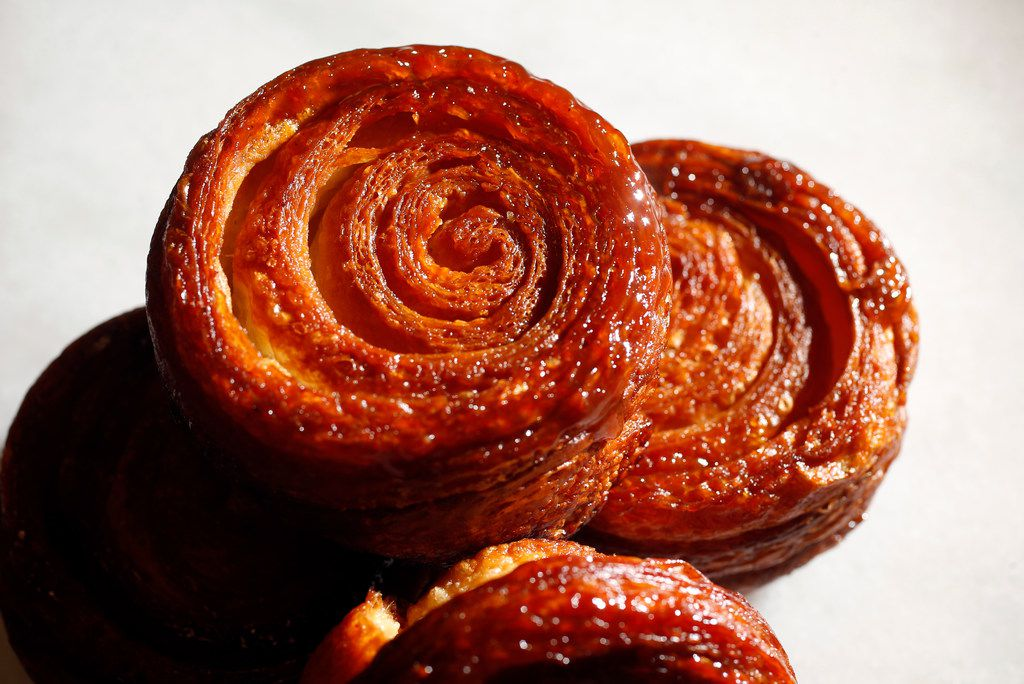 Kouign-amann made at Bisous Bisous Patisserie in Dallas