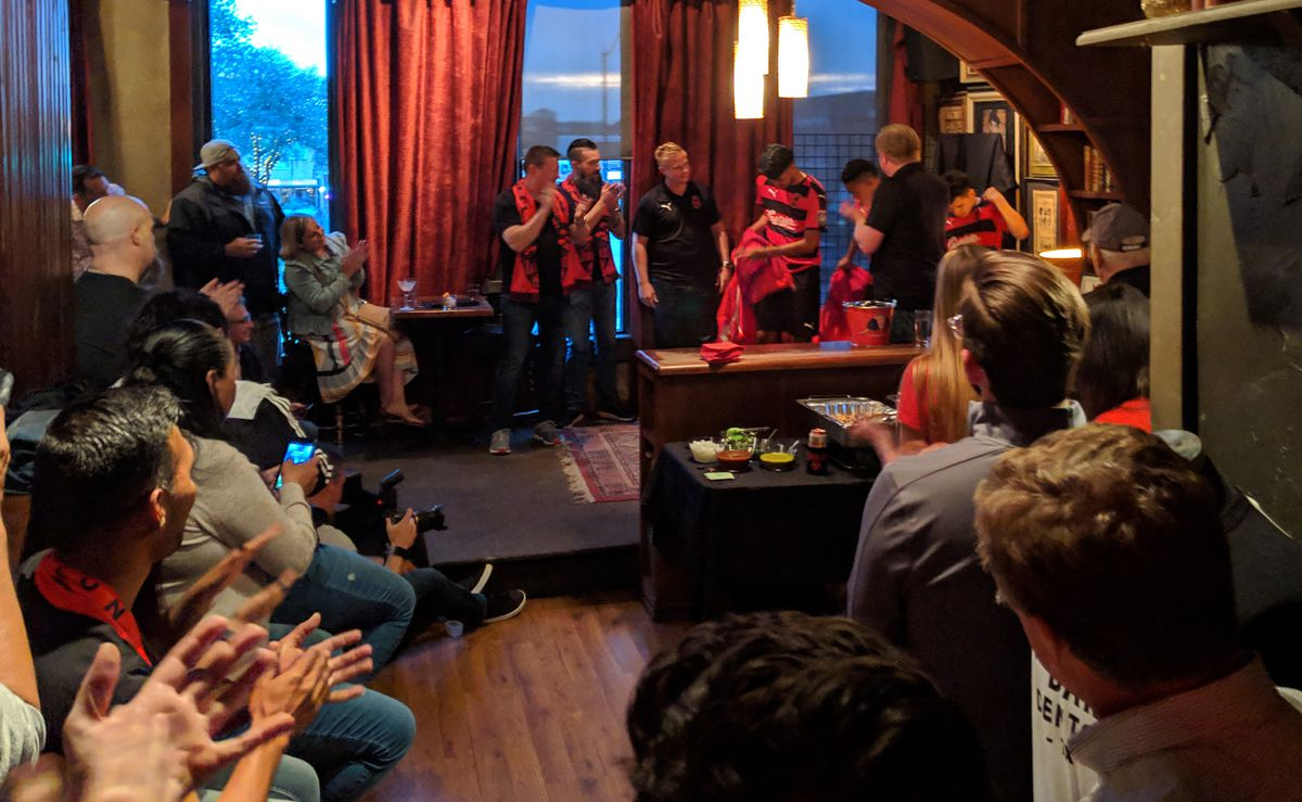 The 2019 Diablos jersey is revealed to the crowd at Paschall Bar. (4-24-19)