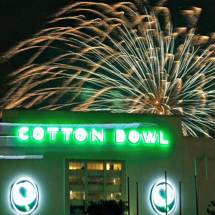 Fireworks display is set off from the Cotton Bowl at Fair Park.