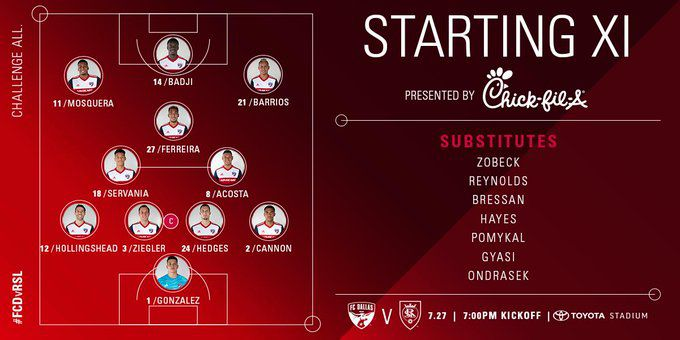FC Dallas starting XI vs Real Salt Lake. (7-27-19)