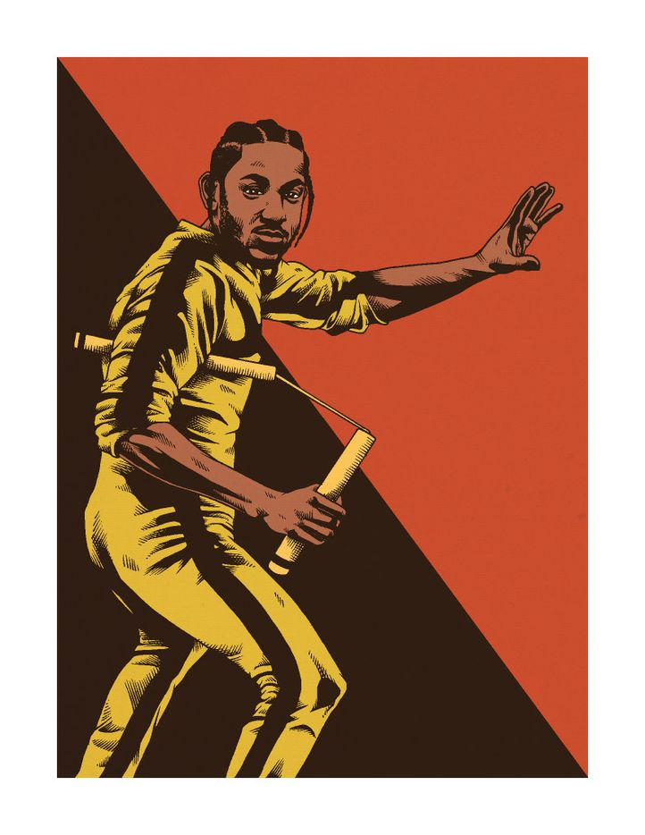 Kendrick Lamar's latest album, DAMN., inspired Torres to draw the rapper with a pair of nunchucks.