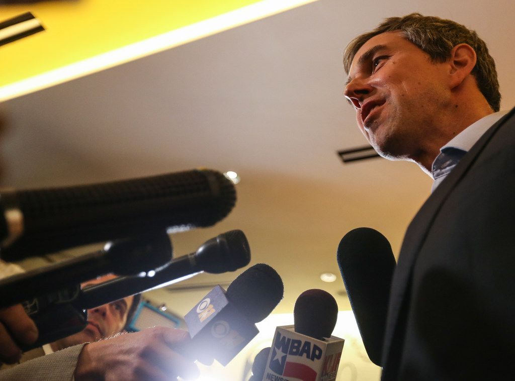 Presidential candidate Beto O'Rourke speaks with members of the media following a round table event at Casa Komali restaurant on Thursday, May 30, 2019, in Dallas. (Ryan Michalesko/The Dallas Morning News)