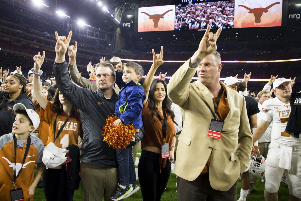 Texas head coach Tom Herman celebrates after a win over Missouri in the Texas Bowl on Wednesday, Dec. 27, 2017, in Houston. (Smiley N. Pool/The Dallas Morning News)