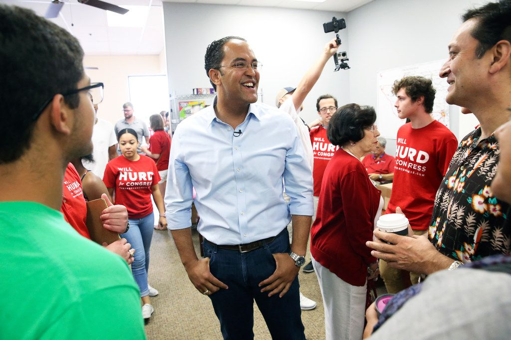 U.S. Congressman Will Hurd greets supporters at his northside headquarters on August 4, 2018.
