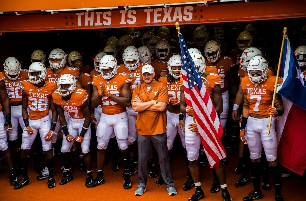The Texas Longhorns players wait in the tunnel before a college football game between TCU and the University of Texas on Saturday, September 22, 2018 at Darrell K Royal - Texas Memorial Stadium in Austin. (Ashley Landis/The Dallas Morning News)