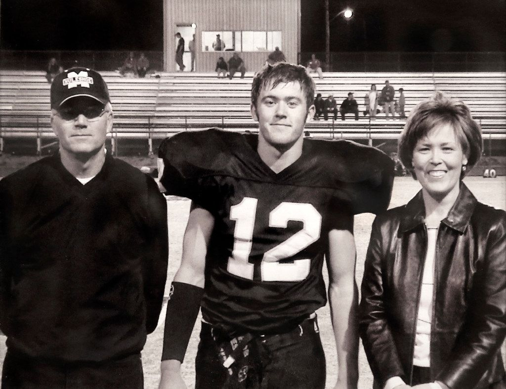 Muleshoe Mules quarterback Lincoln Riley (center) is pictured here with his parents Marilyn and Mike Riley on Senior Night. After high school, Riley was a walk-on at Texas Tech where he shortly became a student assistant to head coach Mike Leach, getting his start in coaching. He currently is the head football coach for the Oklahoma Sooners. (courtesy of Marilyn and Mike Riley)