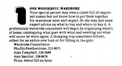 Paula Singleton's November 1978 article on gifts.