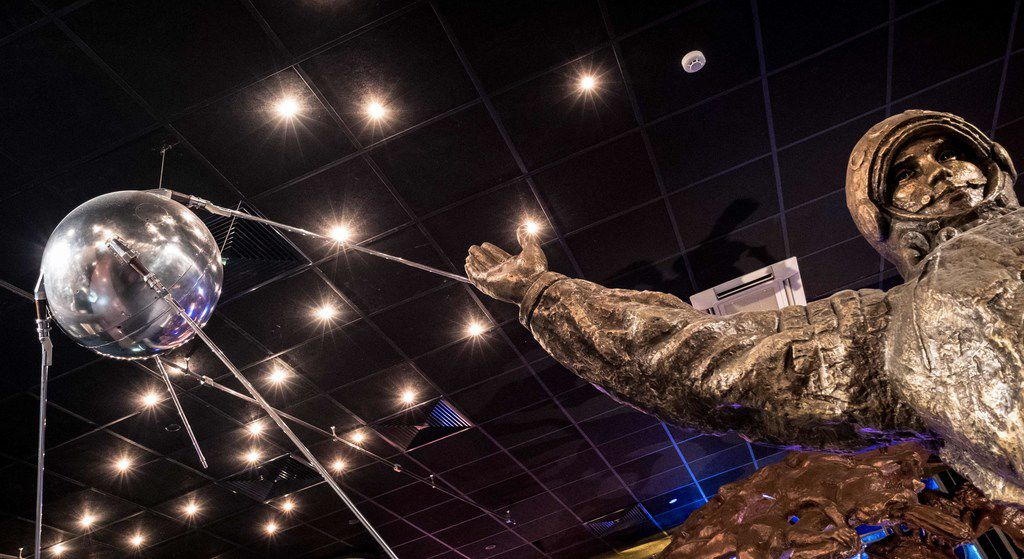 A full-scale replica of the world's first artificial satellite Sputnik, launched by the Soviet Union from a testing range in Kazakhstan on October 4, 1957, is on display at the Memorial Museum of Cosmonautics (or Memorial Museum of Space Exploration) in Moscow on October 3, 2017. When the Soviet Union launched the first artificial satellite 60 years ago, it marked both the beginning of man's space exploration and the start of a space race between Moscow and Washington.