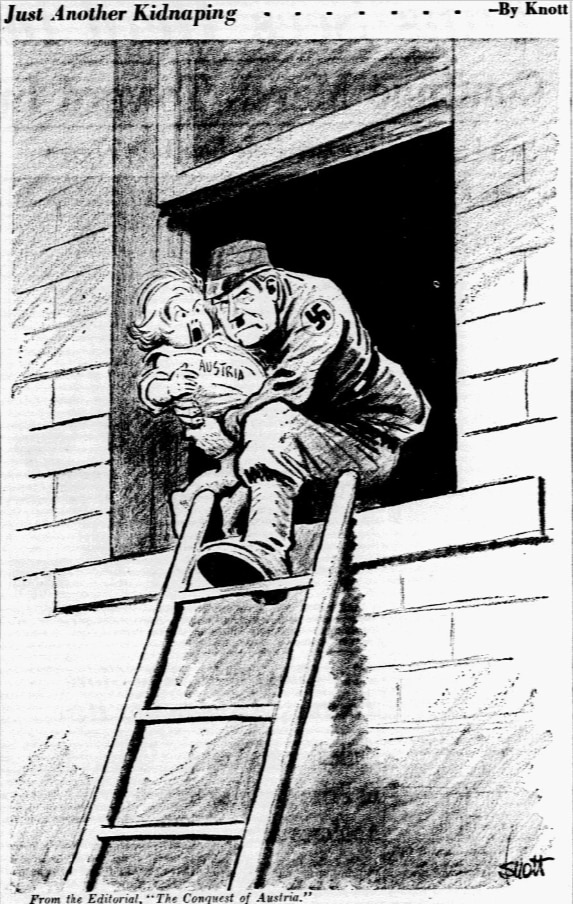 Cartoon featured in the March 13, 1938 edition of The Dallas Morning News.