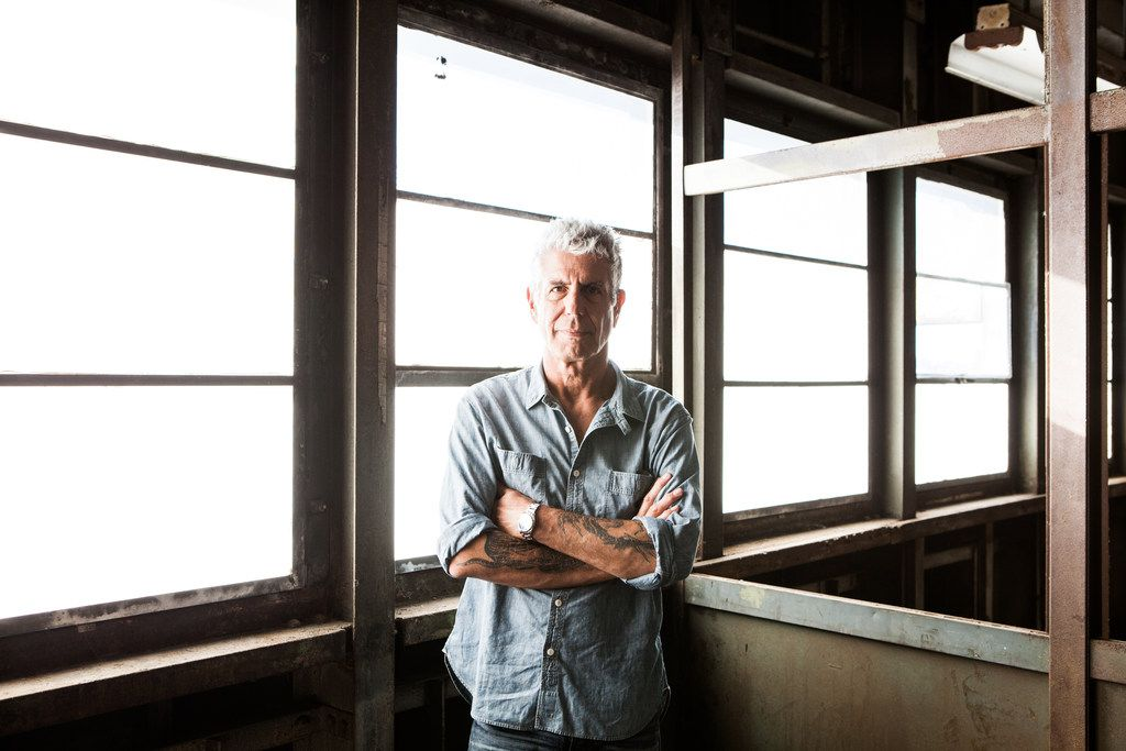 """Anthony Bourdain on Pier 57, where he was planning to open Bourdain Market, in New York, Sept. 20, 2015. Bourdain, a travel host whose memoir """"Kitchen Confidential""""€ about the dark corners of New York's restaurants started a career in television, died on June 8, 2018. He was 61."""