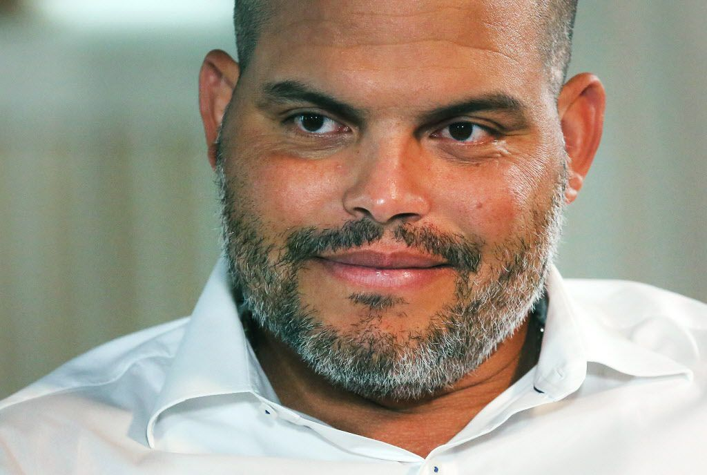 """Former Texas Rangers catcher Ivan """"Pudge"""" Rodriguez talks with the media at the Otesaga Resort Hotel in Cooperstown, NY during Hall of Fame Weekend on Friday, July 28, 2017. (Louis DeLuca/The Dallas Morning News)"""
