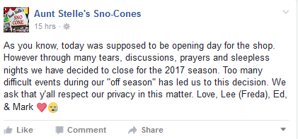 A screenshot of the business' Facebook post announcing the decision to close for the 2017 season.