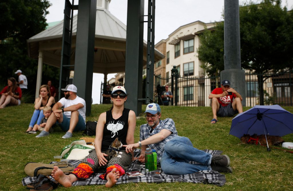 """Angela Barnes and Chad Wynn with cat Schrodinger at """"Take Meow to the Ballgame,"""" a day where cat owners are encouraged to bring their cats to the ballpark at Dr Pepper Ballpark in Frisco, Texas, Sunday, May 21, 2017."""