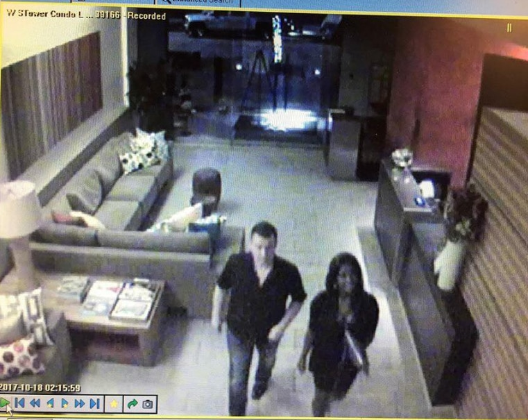 Surveillance video shared by King on Facebook shows him walking into The W with a woman he believes stole his puppy.