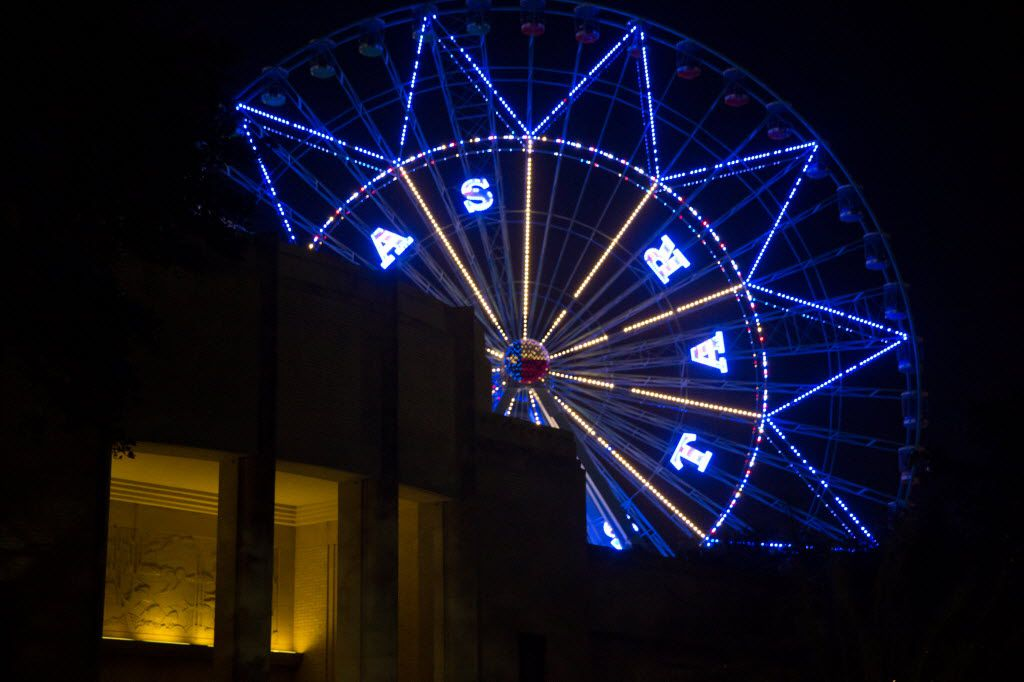 The Texas Star Ferris wheel was lit up at night during the free festival celebrating the 80th anniversary of the Texas Centennial Exposition at Fair Park on June 10.