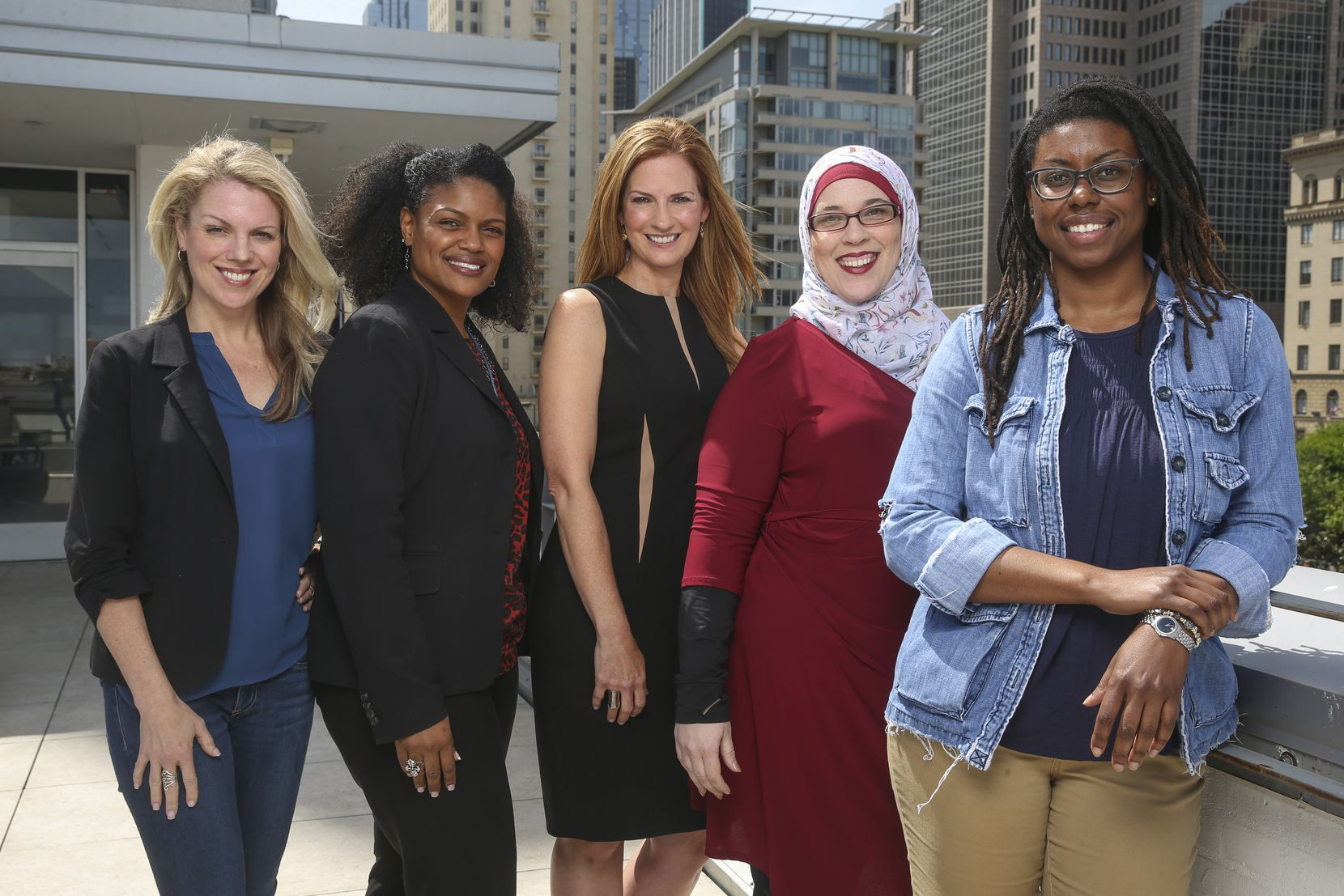 From left: Anna Clark, Yulise Waters, Michelle Kinder, Alia Salem and Joli Robinson are the peer coaches for the 2019 Public Voices project in Dallas.