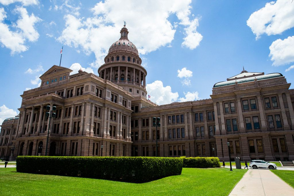 The northwest side of the Texas Capitol.