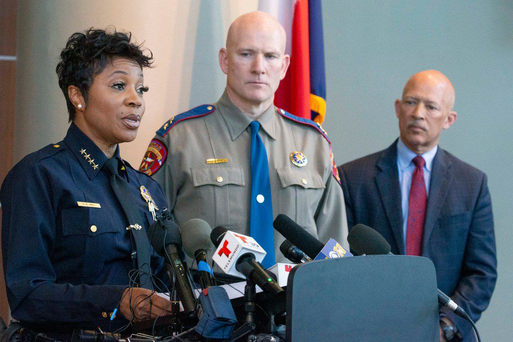 Dallas Police Chief U. Renee Hall (from left) touted the announcement of assistance from state troopers as Jeoff Williams, Regional Director of the Department of Public Safety, Region 1, and Dallas County District Attorney John Creuzot listened. But the announcement was short on details. Hall said at the time she couldn't say where or how the troopers would be deployed.