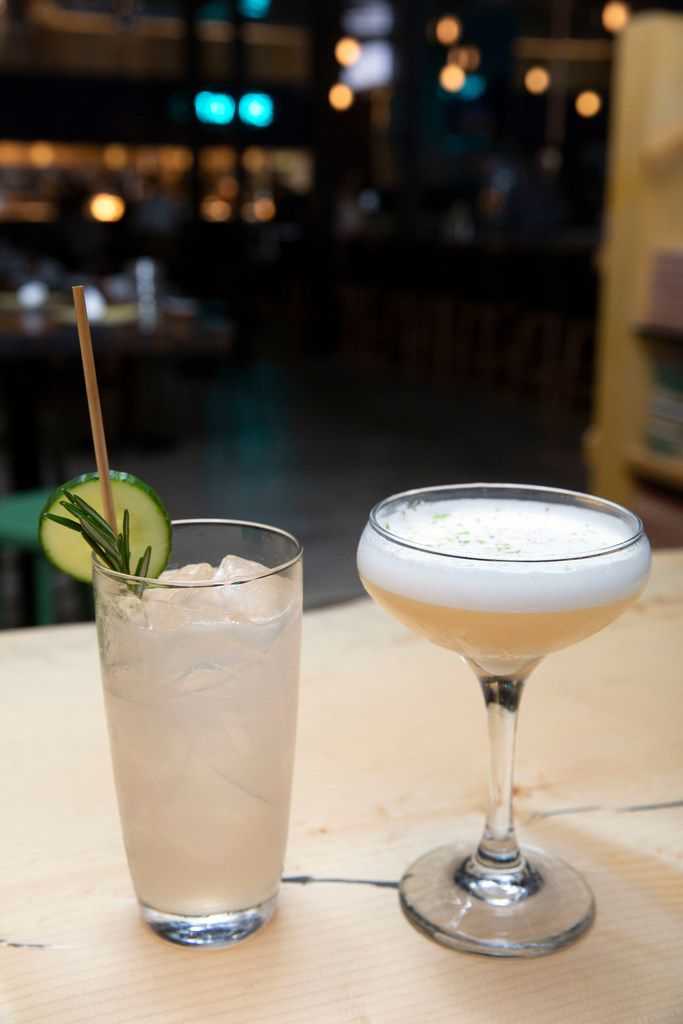 The Florist's Tonic mocktail, left, and It's Always in the Banana Stand, made with mezcal, banana liqueur and lime juice