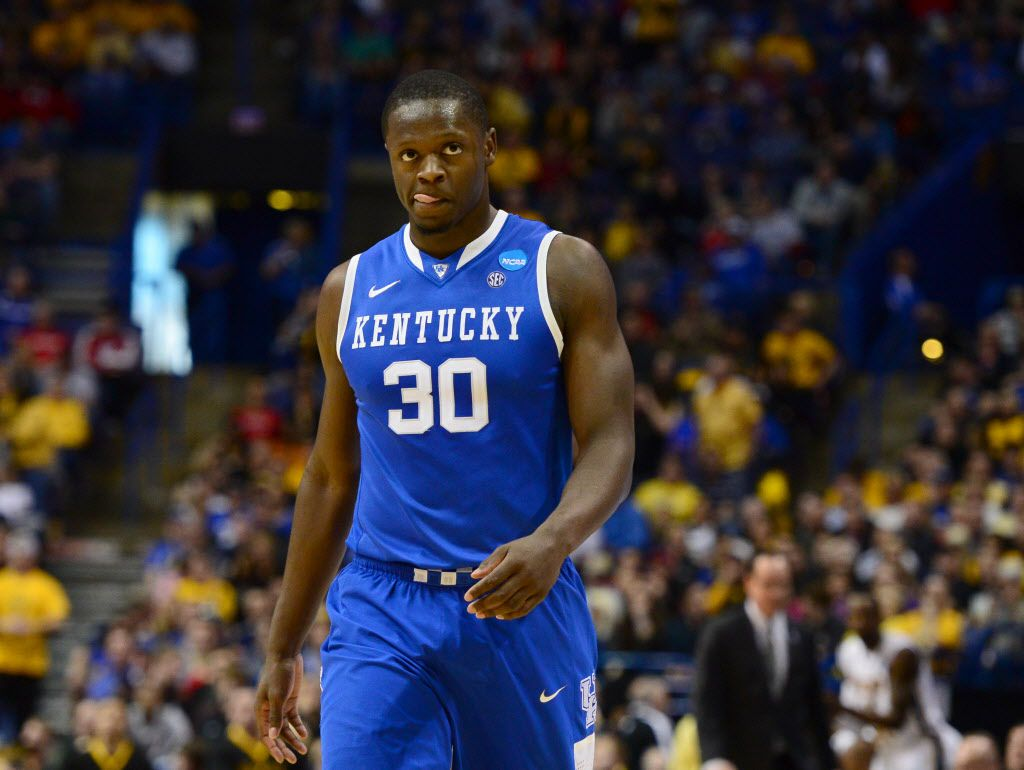 Mar 23, 2014; St. Louis, MO, USA; Kentucky Wildcats forward Julius Randle (30) reacts against the Wichita State Shockers during the first half in the third round of the 2014 NCAA Men's Basketball Championship at Scottrade Center. Mandatory Credit: Jasen Vinlove-USA TODAY Sports