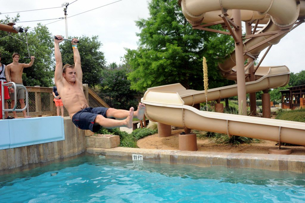 Bryce Klein zip lines across the pool at Paradise Springs at Gaylord Texan in Grapevine, TX on June 12, 2016. (Alexandra Olivia/ Special Contributor)