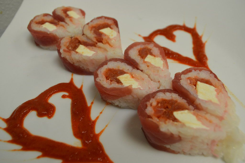 Hibashi will serve sushi dishes with Valentine's Day touches.