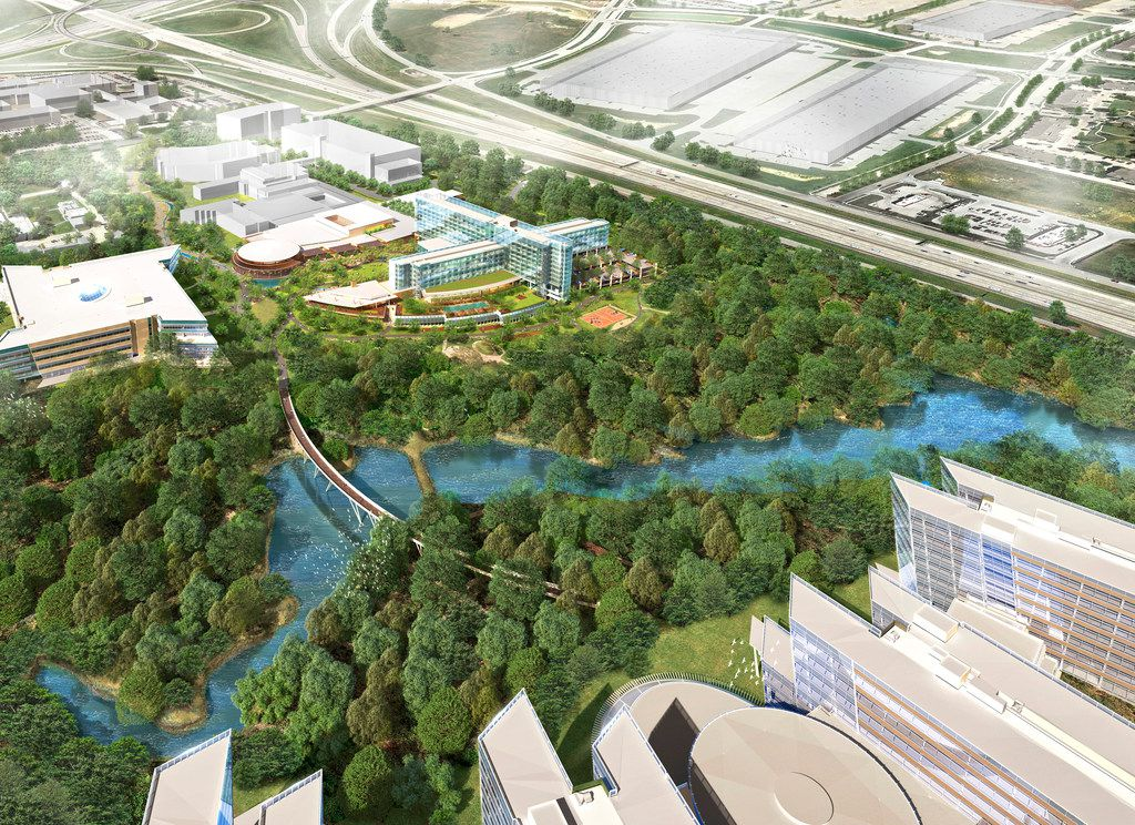 A rendering shows American Airlines headquarters campus being built in Fort Worth including offices (bottom right) and a hotel and conference center -- the cross-shaped glass building at top center.