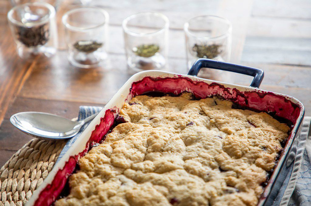 A pan of Black and Blue Cornmeal Cobbler