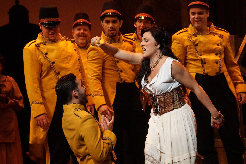 """Audrey Babcock as Carmen, in a dress rehearsal of a Fort Worth Opera production of """"Carmen"""" at Bass Performance Hall in Fort Worth, Texas on April 20, 2017."""