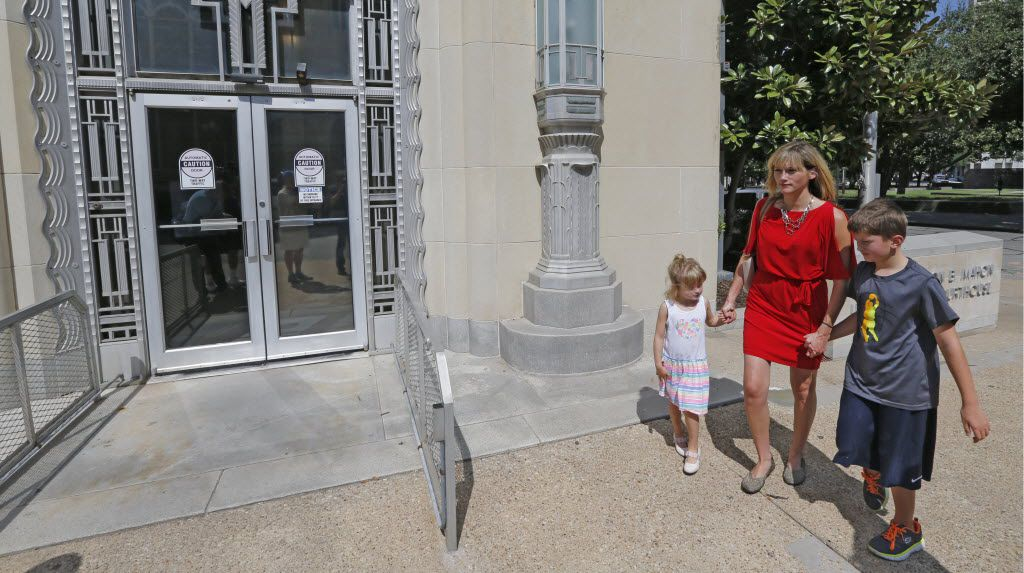 Amber Briggle of Denton and her children, Lulu, 4, and transgender son MG, 8, attended a court hearing this month in Fort Worth in the legal fight over federal transgender bathroom rules in schools.