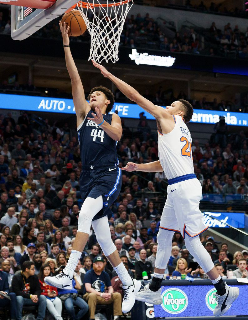 Dallas Mavericks forward Justin Jackson (44) drives to the basket past New York Knicks forward Kevin Knox II (20) during the first half of an NBA basketball game at American Airlines Center on Friday, Nov. 8, 2019, in Dallas. (Smiley N. Pool/The Dallas Morning News)