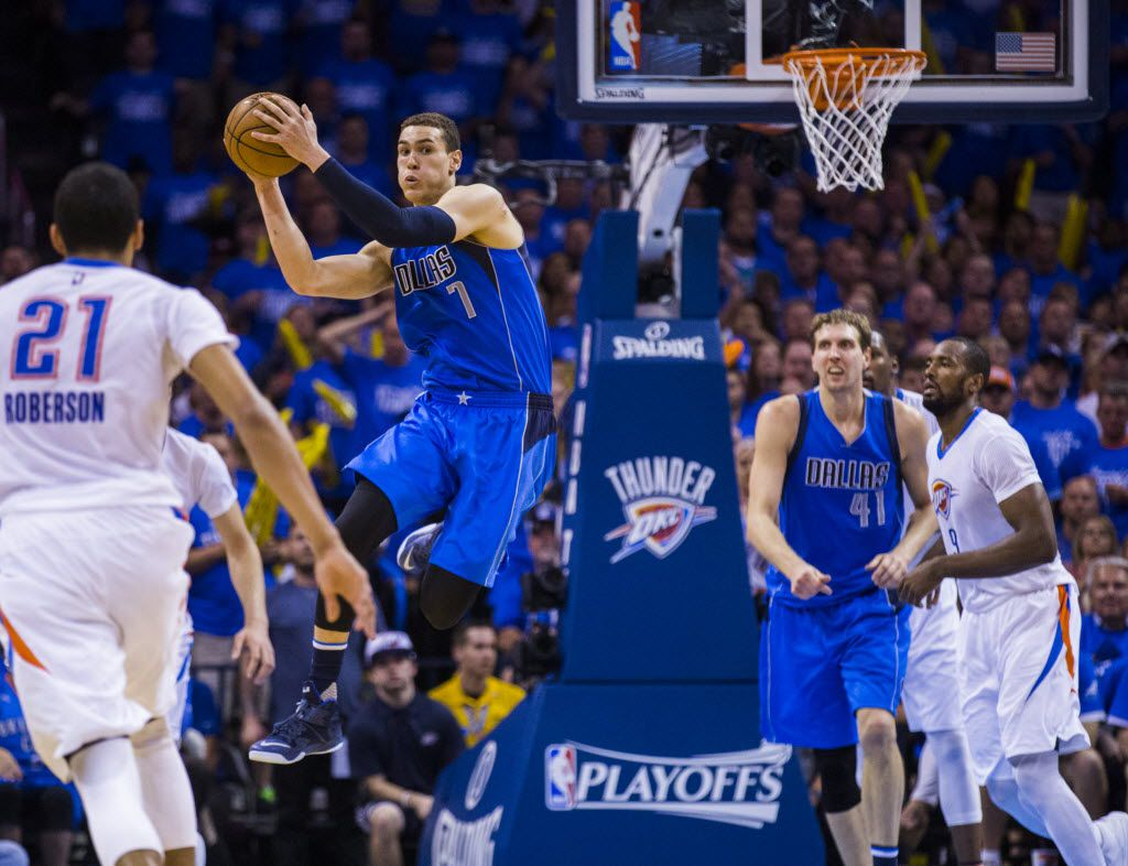 Dallas Mavericks forward Dwight Powell (7) jumps up for a rebound during the fourth quarter of game 5 of their series against the Oklahoma City Thunder in the first round of NBA playoffs on Monday, April 25, 2016 at Chesapeake Energy Arena in Oklahoma City, Oklahoma.  (Ashley Landis/The Dallas Morning News)